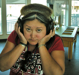 Sharon Shorty with headset